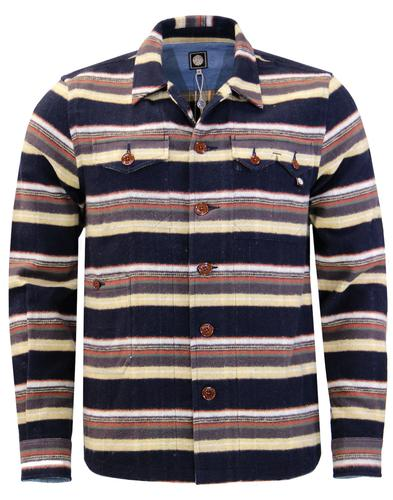 Audio Stripe PRETTY GREEN Brushed Cotton Overshirt