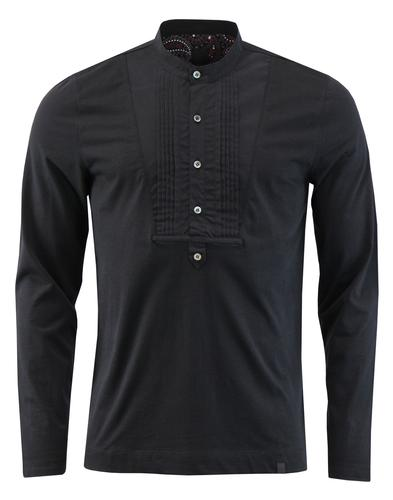 pretty green jugband  henley bib shirt black mod