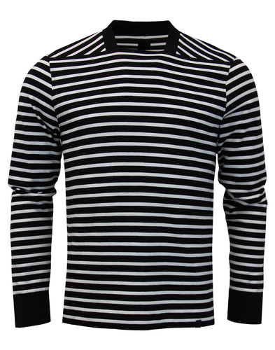 pretty green boat neck top black stripes mod