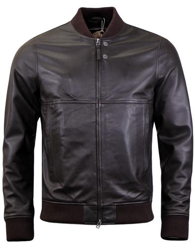 Dover PRETTY GREEN Retro Leather Bomber Jacket