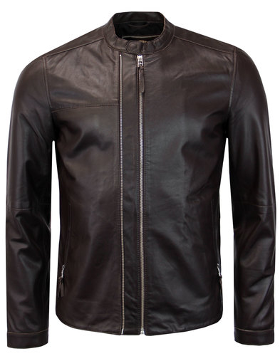 Burridge PRETTY GREEN Retro Leather Racer Jacket C
