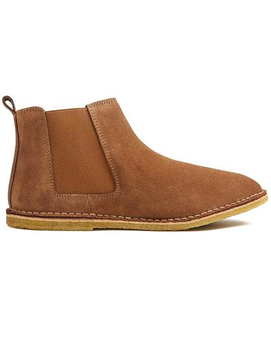 PRETTY GREEN Retro Mod Suede Chelsea Boots Tan
