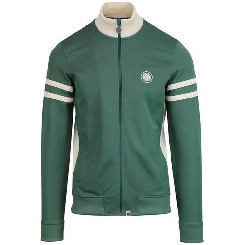 6487eca0f9765 Pretty Green Men's Retro 1990s Funnel Neck Track Jacket in Green