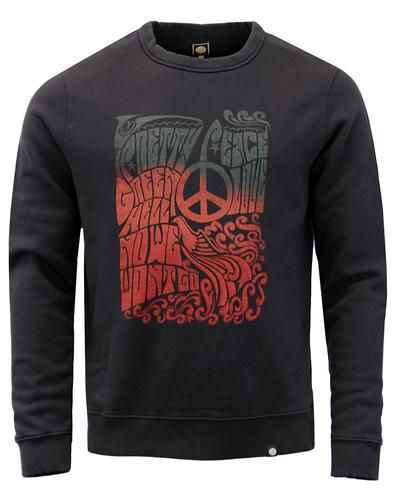 Hell No PRETTY GREEN Retro Peace Poster Sweatshirt
