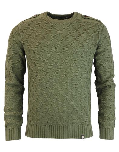 Hertford PRETTY GREEN Mod Cable Knit Army Jumper