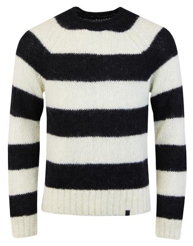 pretty green scream knit striped jumper white mod