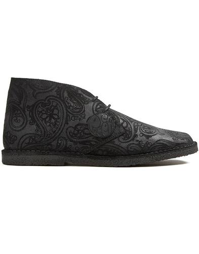 PRETTY GREEN Black Label Mod Paisley Desert Boots