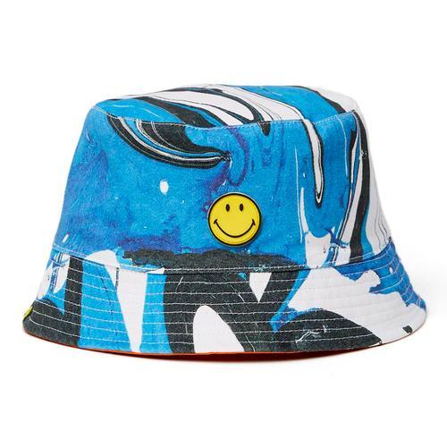 af50ac28 Pretty Green x Smiley Retro 90s Indie Acid House Bucket Hat in Blue