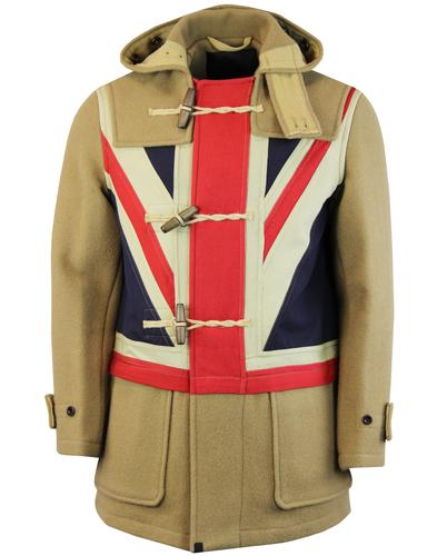 pretty green gloverall wool union jack camel mod