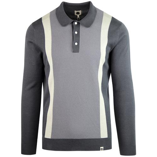 3dcaf94ef05 pretty green mens contrast stripe knitted long sleeved polo grey