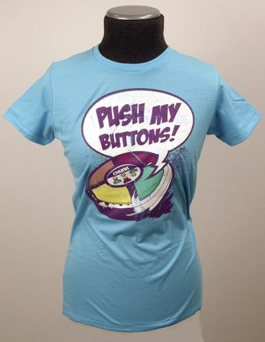 'Push My Buttons' Retro Indie Ladies Chunk T-Shirt