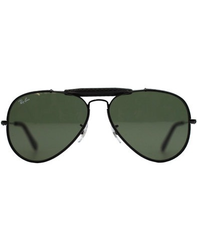 Outdoorsman Craft RAY-BAN Leather Sunglasses Black