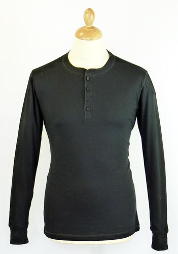 Mens Retro 70s Indie L/S Henley Neck Black T-Shirt