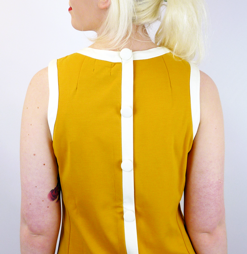 Dusty Retro Mod Sixties Mini Dress (Mustard)