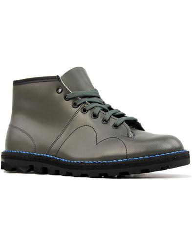 Retro Mod Smooth Leather Monkey Boots (Grey)