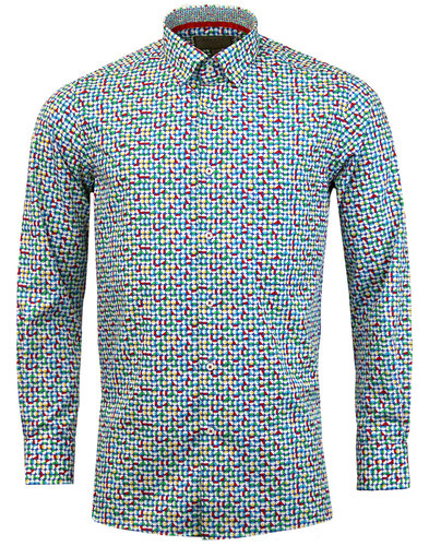 ROCOLA Retro Mod Op Art Circle Button Under Shirt