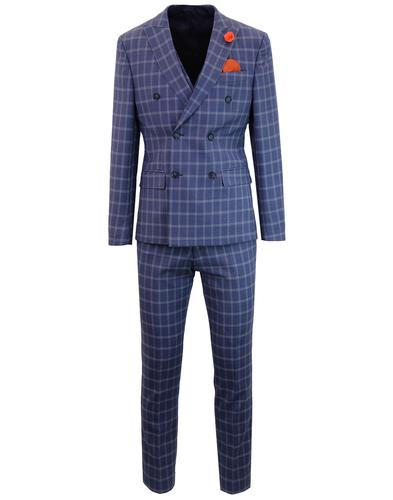 Men's Retro 70s Check Double Breasted Suit in Blue