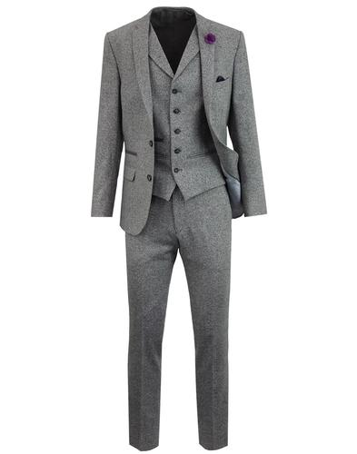 Men's 60s Mod Donegal Fleck 2 Button Suit - Silver