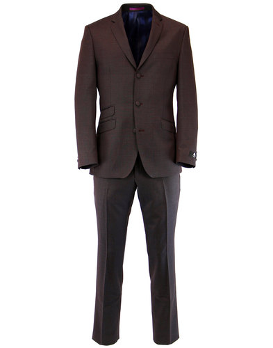 Mens Retro Sixties Tonic Mod Suit in Dark Red