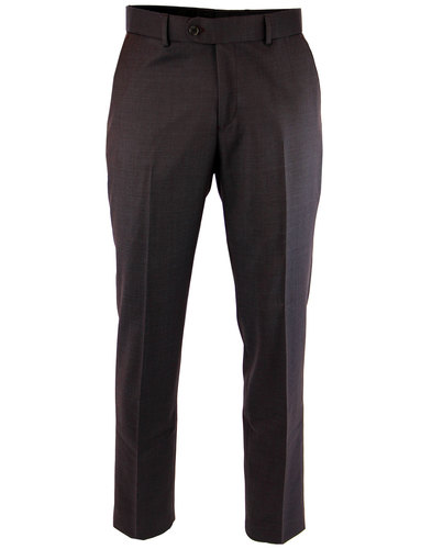Retro 1960s Mod Tonic Wool Blend Slim Trousers DR