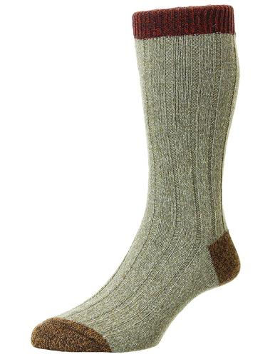 + Burghley SCOTT-NICHOL 6x2 Rib Wool Mens Socks