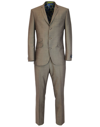Men's Retro 60s Mod 3 Button Mohair Tonic Suit
