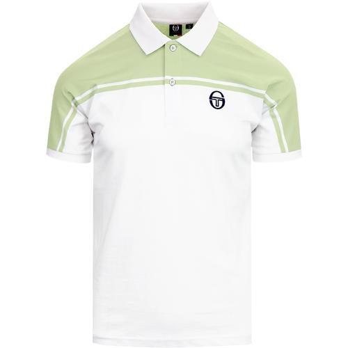 000e207a sergio tacchini mens new young line retro polo tshirt green white
