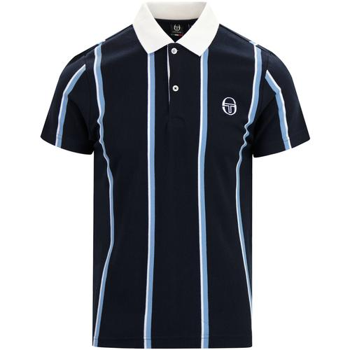 a8ba1363 sergio tacchini mens enforcer vertical stripes contrast collar retro 80s polo  tshirt