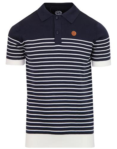 SKA & SOUL Mod Breton Stripe Knit Polo Shirt NAVY