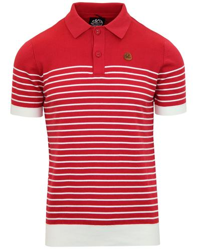 SKA & SOUL Retro Mod Breton Stripe Knit Polo Top R