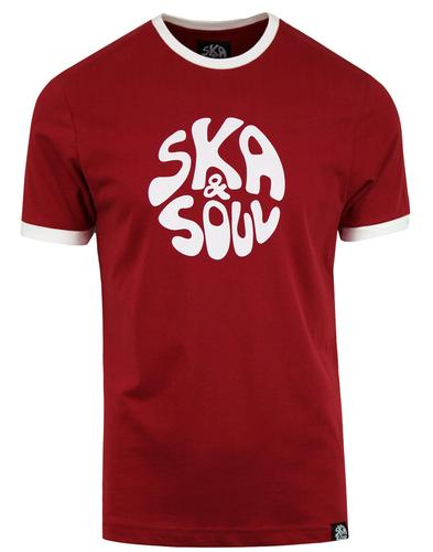 SKA & SOUL Men's Retro Mod Ringer Logo T-shirt RED
