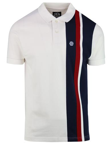 SKA & SOUL Mod Racing Stripe Panel Polo Shirt ECRU