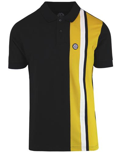 SKA & SOUL Mod Racing Stripe Panel Polo Top BLACK