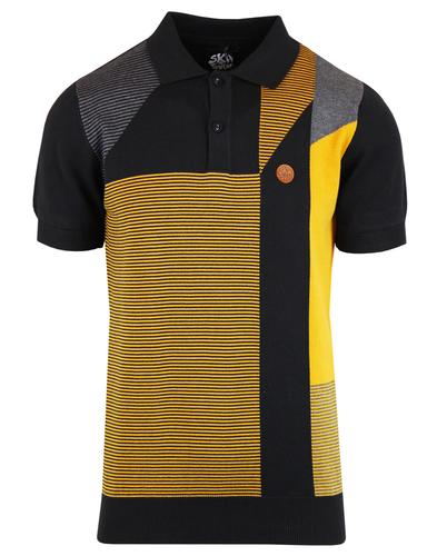 SKA & SOUL Mod Abstract Panel Stripe Knit Polo Top