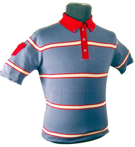 'Morgan' - Mens Retro Indie Striped Polo (Blue)