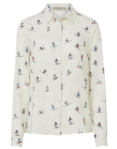 Blair SUGARHILL BOUTIQUE Retro 70s Ski Print Shirt