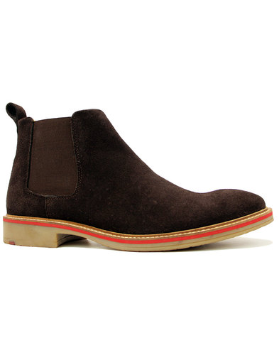 Retro 60s Mod Suede Tipped Colour Chelsea Boots DB