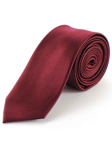 TOOTAL Men's Retro Mod Skinny Silk Tie in Burgundy