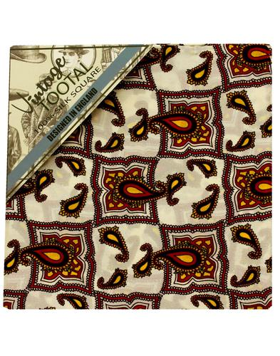 TOOTAL 60s Retro Mod Tile Silk Pocket Square Ivory