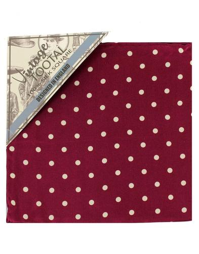 TOOTAL Mod Polka Dot Silk Pocket Square in Wine