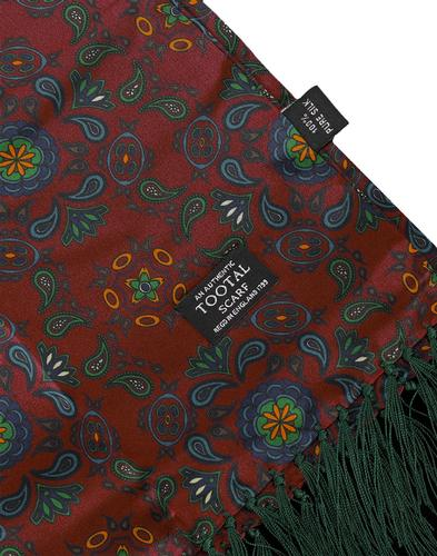 TOOTAL 60s Retro Mod Oxblood Paisley Silk Scarf