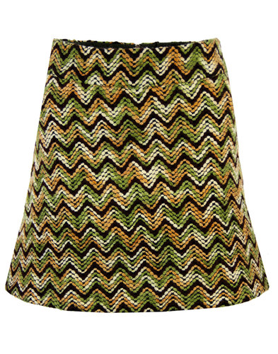 TRAFFIC PEOPLE Retro 70s Woven A-Line Mini Skirt