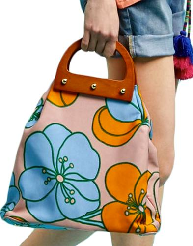 Be Bold TRAFFIC PEOPLE Retro 60s Floral Bag Pink