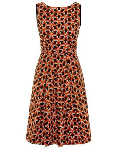 Traffic People Retro Doris Dress Orange Black