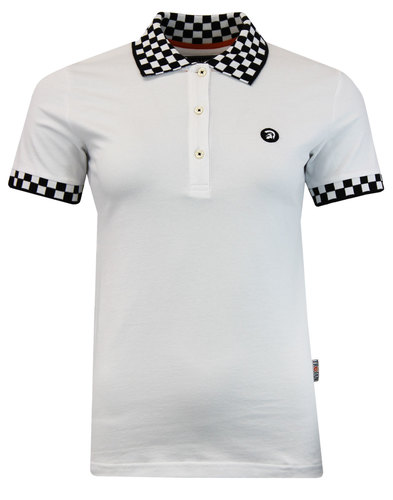 TROJAN RECORDS Womens Retro Ska Checker Polo White