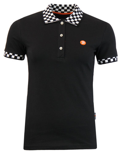 TROJAN RECORDS Womens Retro Ska Checker Polo Black