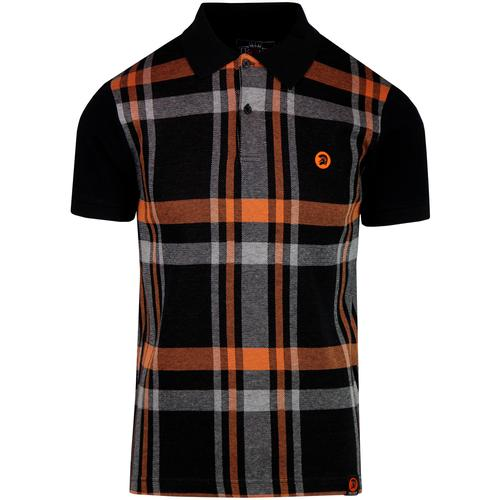 ca8dc31a215544 trojan records mens check front knitted polo tshirt black orange grey