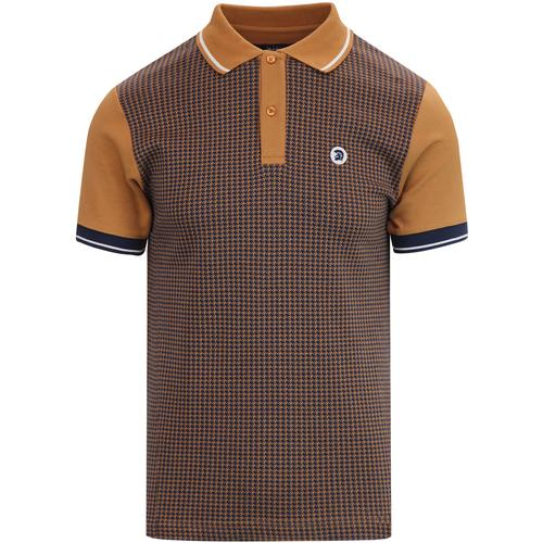 ede068c14 trojan records houndstooth pattern front panel tipped polo tshirt golden  tan navy