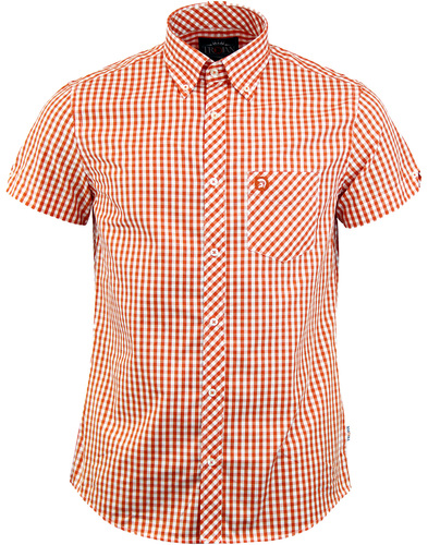 TROJAN RECORDS 60s Mod Short Sleeve Gingham Shirt