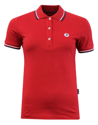 TROJAN RECORDS Retro 60s Tipped Womens Polo Red